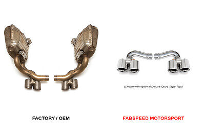 Fabspeed Porsche 997.2 Carrera Side Muffler Bypass Pipes | Polished Chrome Tips