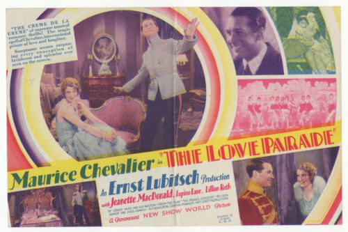 THE LOVE PARADE Rare 1929 MAURICE CHEVALIER Film MOVIE HERALD Jeanette MacDonald