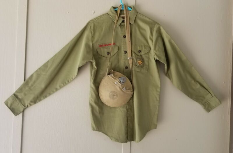 Vintage Boy Scout BSA Shirt and Canteen Boyscout Scouts of America Official