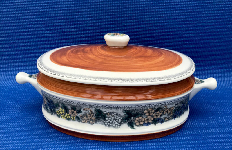 Vintage Goebel Burgund Country Oblong Covered Casserole Serving Dish