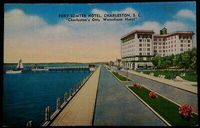 Charleston South Carolina Postcard Mid 1900s Fort Sumter Hotel Pier Sailboat