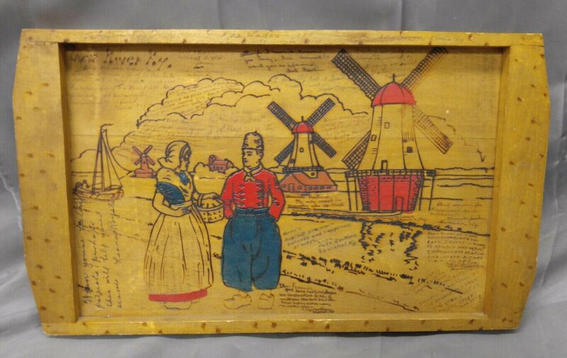 Antique Old Vintage Wooden Pyrography Holland Windmill Tray