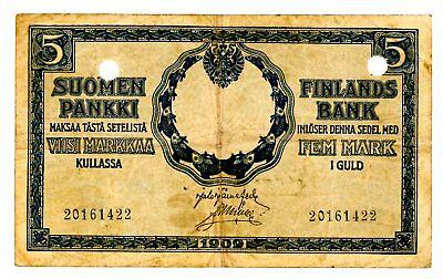 Finland … P-20 … 5 Markkaa … 1909 … *F+*
