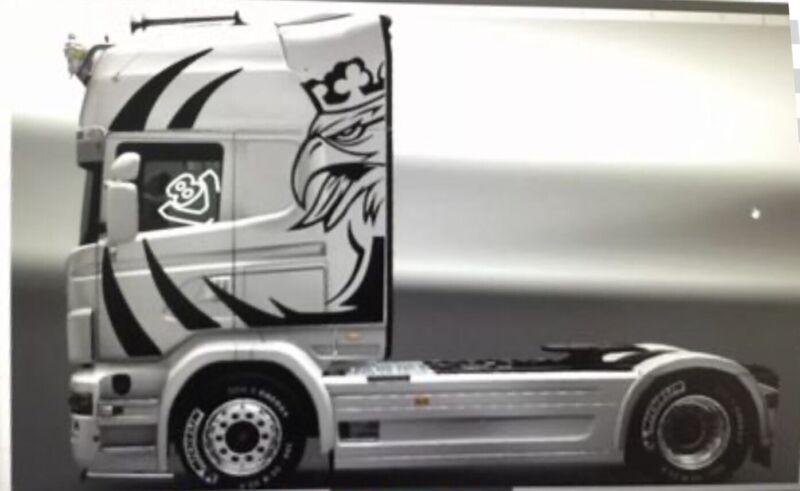 4+Tamiya+1%2F14+Scania+Cab+Griffin+Matt+Black.+Plus+2+V8+Window+Decals+In+White