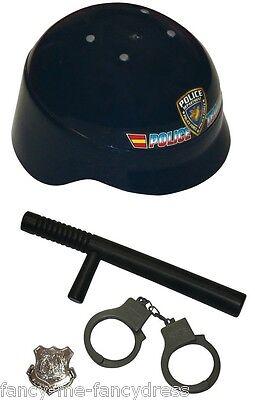 Jungen Mädchen 4 Stück Polizei SWAT Hut Kostüm Kleid Outfit Zubehör Spielzeug