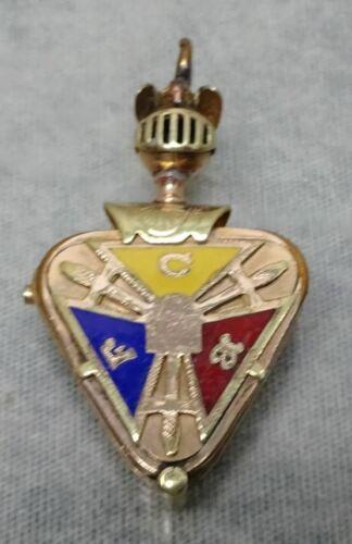 Oranate Antique Enamel Knights of Pythias Slide Open Vintage Fob Locket