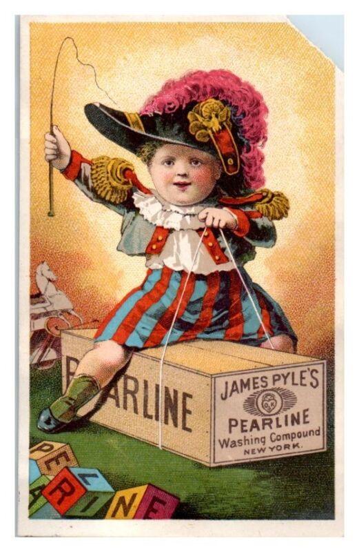Boy Riding Pearline Soap Box Victorian Trade Card
