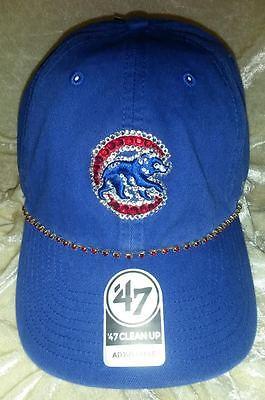Chicago Cubs Womens Rhinestone Bling 47 Brand MLB Baseball Cap Hat ~NEW~