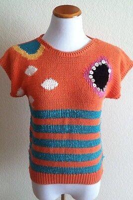 Vintage knit top orange  green striped embellished cap sleeves size M