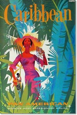 "Retro CARIBBEAN PAN AMERICAN Travel Poster Photo Fridge Magnet Size 2""x 3"" New"