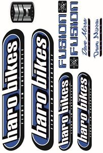 BMX-BIKE-BICYCLE-STICKERS-DECALS-TRANSFERS-SET-OF-9-HARO-FUSION-BLUE