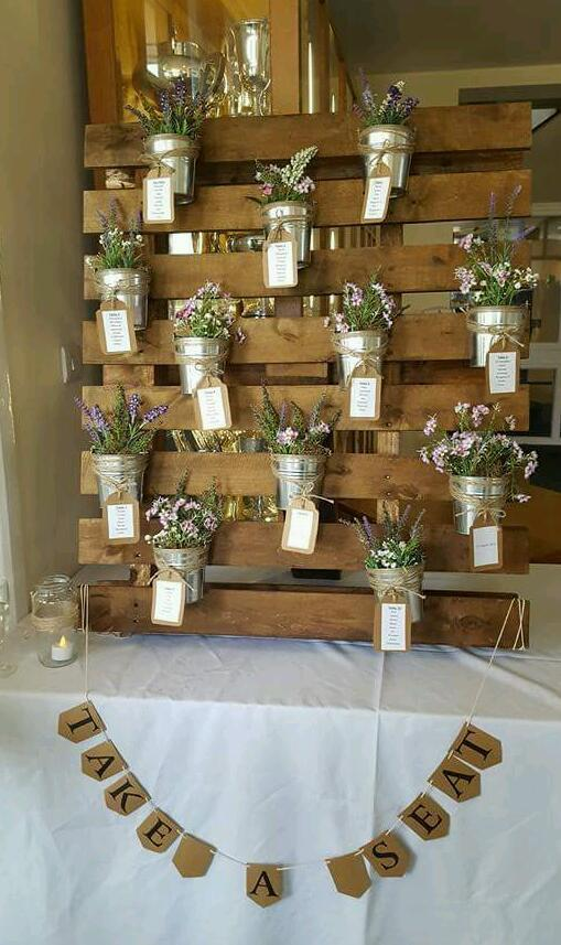 Vintage Wooden Pallet Wedding Seating Plan In Cyncoed
