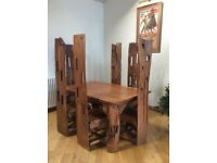 Unique reclaimed teak wood dining table with 6 chairs