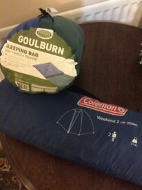 Coleman Weekend 2 person tent and Goulburn Sleeping Bag
