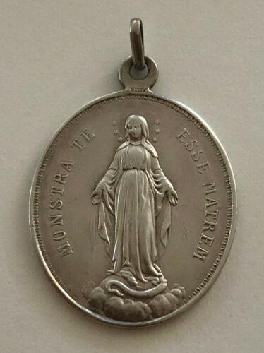 Antique Catholic Religious Medal - 900 SILVER - Monstra Te Esse Matrem - 9 Grams