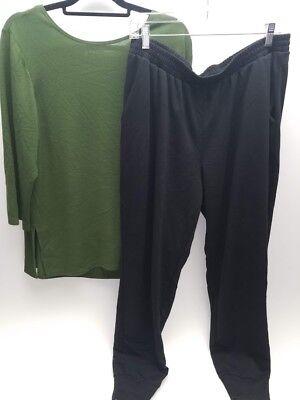 2 Pc Set Sz 1XL Slinky Brand Olive Grn Sweater Knit Tunic & Antthony Sweat Pants