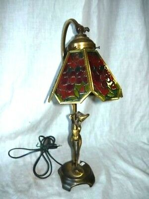 Lampe Applique Nachttisch Licht Messing Basis Frau Glas Rot - Nacht Licht Tisch Lampe Basis