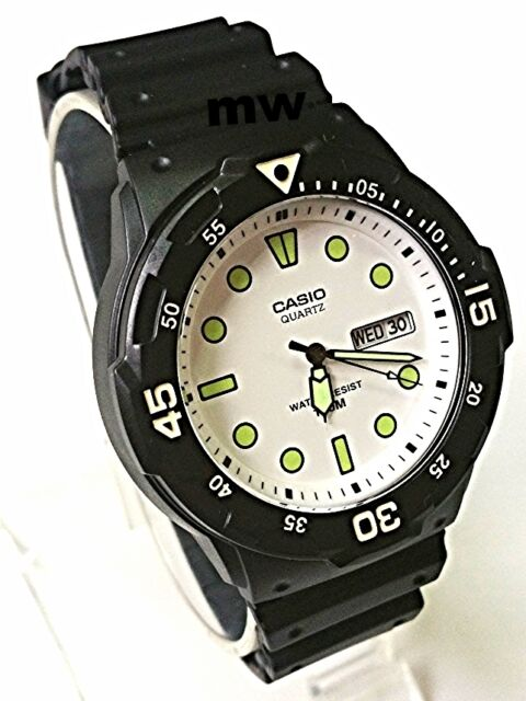 New Casio Men's Teens Watch 100M Date Day Quartz Analog Black Rubber MRW-200H-7E