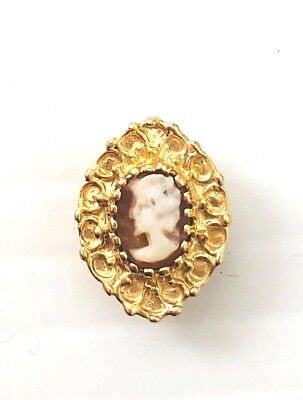 (14K Yellow Gold Cameo Solid backed bracelet slide / 2.5 grams)