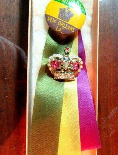 Vintage Mardi Gras Pin On Ribbon NEW ORLEANS MARDI GRAS KREWE FAVOR
