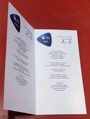 VIP Menue Card UEFA U 21 EM Italy 2019 Deutschland Serbien in Triest 20.06.19