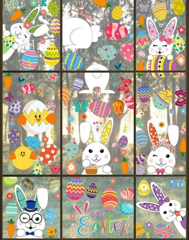 EASTER Glass Window Clings Stickers EASTER RABBITS Eggs Chick Carrots Decals