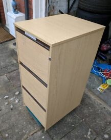 3 draw filing cabinet, pine effect laminate