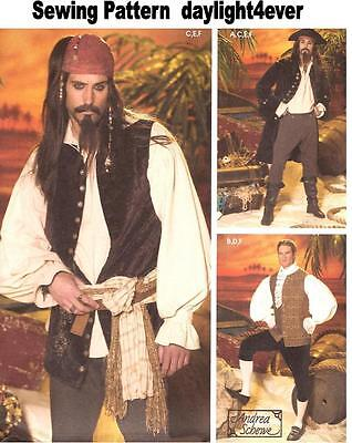 Men Pirates Caribbean Costume Sewing  Pattern 4923 Jack Sparrow Size XS-M #v
