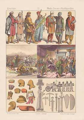 Altertum LITHOGRAPHIE von 1883 Trachten Kleidung (Krieger Kleidung)