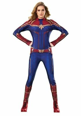 Rubies Captain Marvel Movie Superhero Suit Adult Womens Halloween Costume 700600 - Blue Superhero Costume