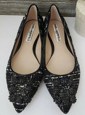 New Karl Lagerfeld Shoes Nara 2 Point toe flats brooch Black White Gold Size 9,5