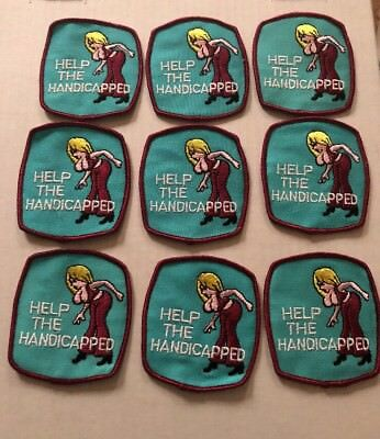 Vintage Patch Lot Of 9 Help The Handicapped Funny Rat Hot Rod Big Boobs Tits NOS