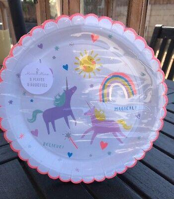 Meri Meri Unicorn 9x9 Dinner Paper Plates Rainbows Party Supplies Birthday New (Rainbow Paper Plates)