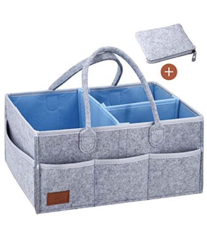 Baby Diaper Caddy Organizer Comfy Carry Nursery Bin – Unisex Gray Blue Portable