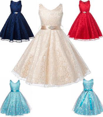 Princess Communion Dresses (Girls Occasion Kids Flower Princess Lace Wedding Party Pageant Communion)