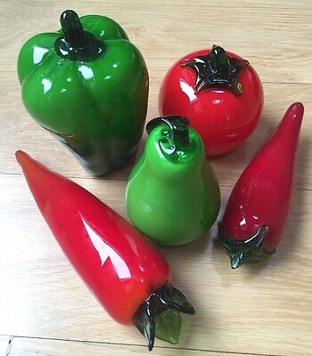 Murano Style Glass Art Fruit Vegetables 5 Pieces 3 Red Green Peppers Pear Tomato 5 Piece Tomato
