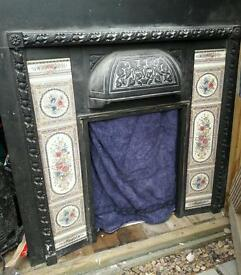 Original cast iron tiled inset fire surround