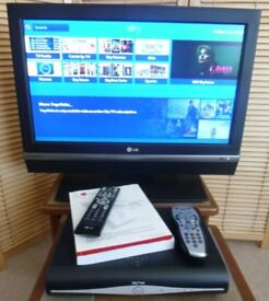 """27LC2R LG 27"""" TV with stand, remote handset, cables and Sky box with Remote control and cables."""