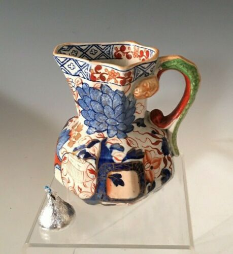 Rare small size Davenport Gaudy Welsh Snake Handle Cream Jug