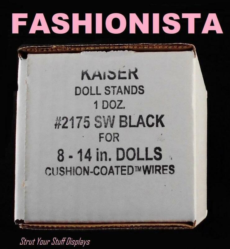 "1 doz Stands KAISER #2175 BLACK. NEW . Fit 12.75"" tall dolls  BARBIE FASHIONISTA"