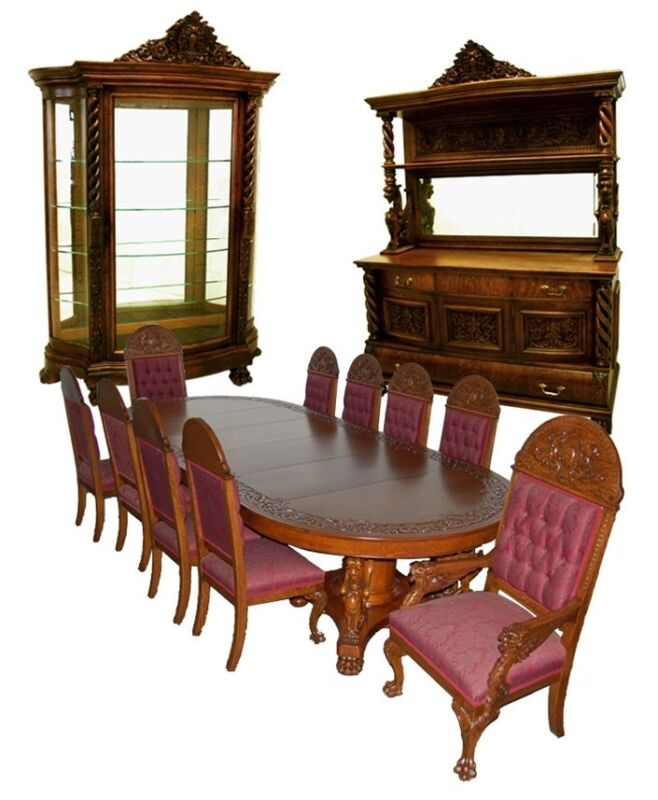 Antique 13-Pc. Winged Griffin Figural Carved American Oak Dining Set #7200