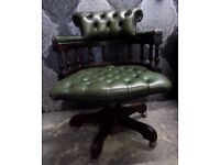 Stunning Chesterfield Captains Chair in Green Leather Swivel Tilt Turn UK Delivery Available