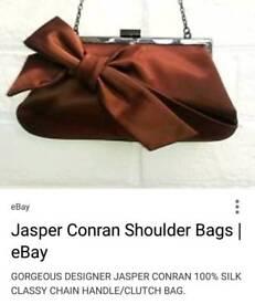100% Silk Brown Clutch / Shoulder bag.