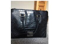 Large Black Leather Biba Croc Print Handbag