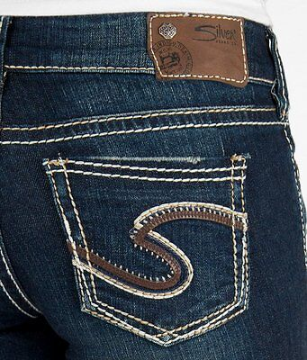 Silver Jeans Embroidered Jeans - WOMENS SILVER JEANS Dark Mid Rise Embroidered Suki Bootcut Stretch Jean 26 X 34