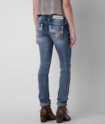 Womens Rock Revival Jeans Low Rise Faux Flap Pocket Betty Straight Leg Stretch  Low Rise Zipper Pockets