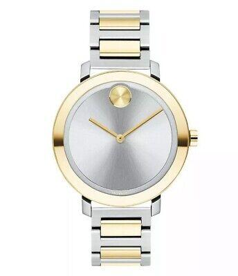 New Movado Bold Evolution 34mm Two-Tone Steel Bracelet Womens Watch 3600651