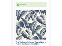 Vinyl wallpaper botanical tropical leaves blue (2rolls)