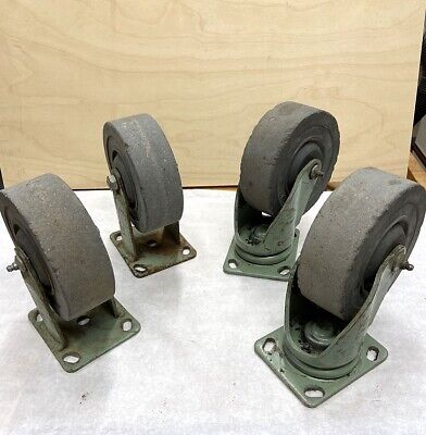 Vintage Set Of 6 Inch Industrial Casters Noelting Faultless Evansville Ind.