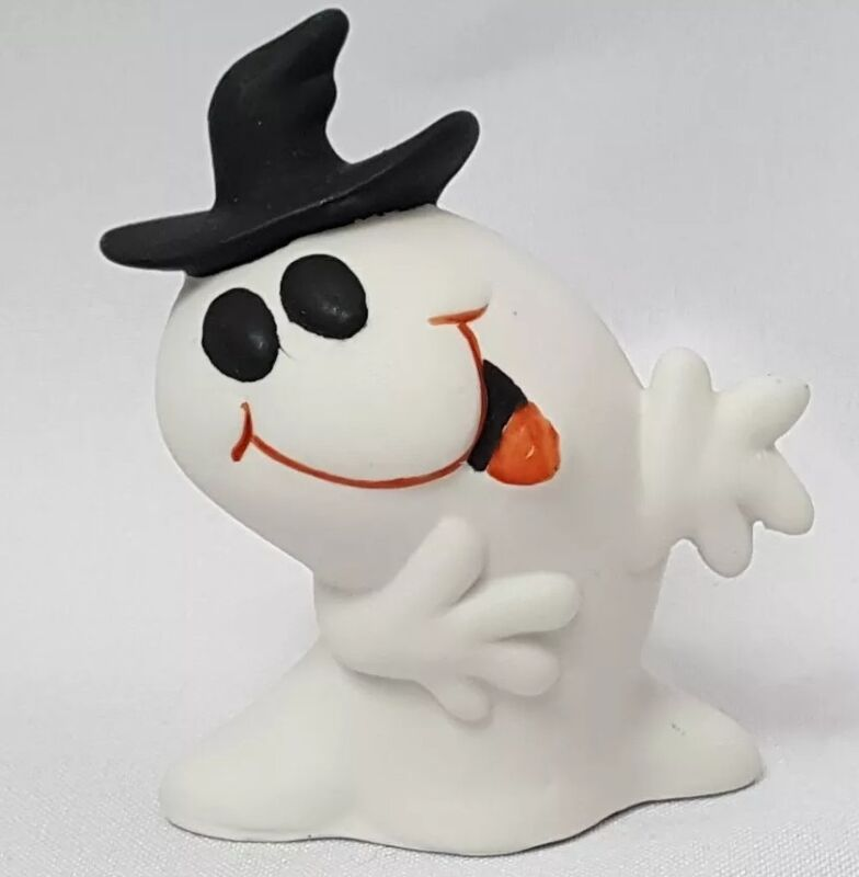 Halloween Ceramic White Ghost Figurine Silly Fun Expression Happy Friendly Hat